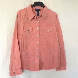 QVC salmon pink suede leather shirts jacket M new